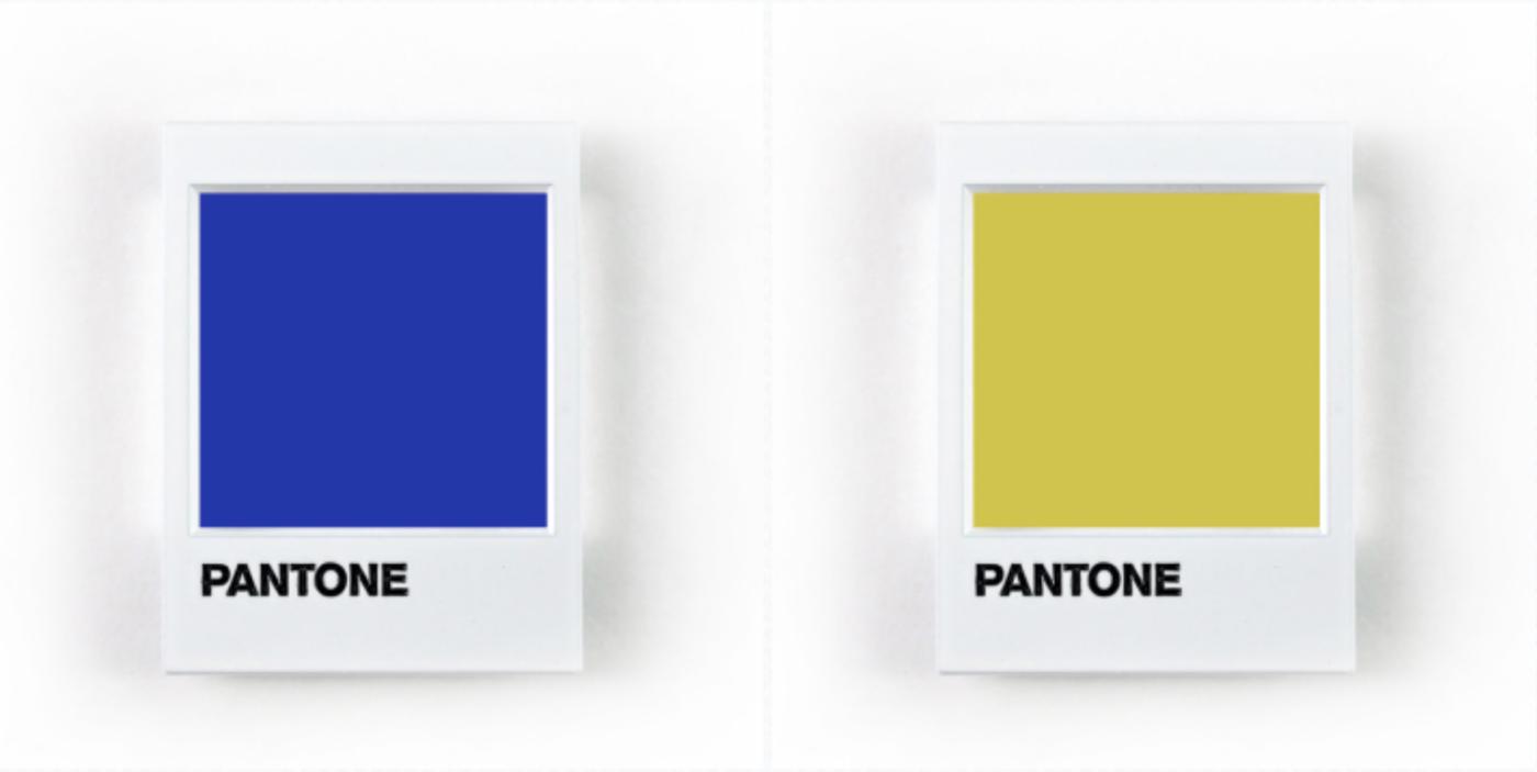 คู่สี Pantone น้ำเงิน-เหลือง อลูมิเนียมคอมโพสิต สีพิเศษ